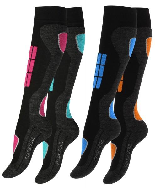 Ski & Snowboard Socken, Wintersport Socken mit Spezialpolsterung, 2 Paar